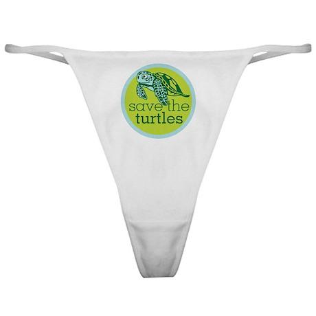 Save Turtles Logo Classic Thong