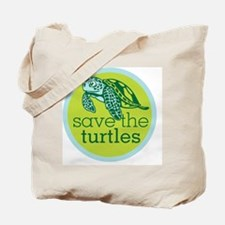 GREEN TURTLE HATCHLING LOGO Tote Bag