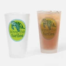 GREEN TURTLE HATCHLING LOGO Drinking Glass