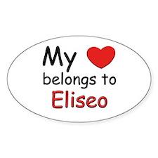 My heart belongs to eliseo Oval Decal