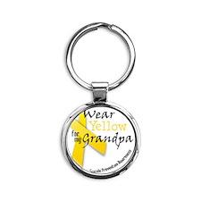 i_wear_yellow_for_my_grandpa Round Keychain