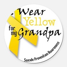i_wear_yellow_for_my_grandpa Round Car Magnet