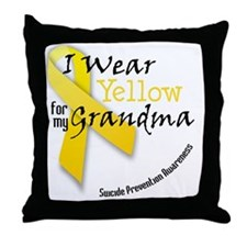 i_wear_yellow_for_my_grandma Throw Pillow