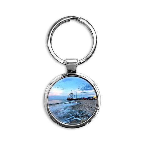 Beachfront Seaside Round Keychain