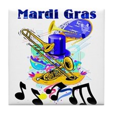 Mardi Gras Music Tile Coaster