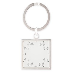 Math Clock (L)(Cart) Square Keychain
