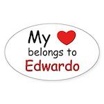 My heart belongs to edwardo Oval Sticker