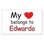 My heart belongs to edwardo Rectangle Sticker