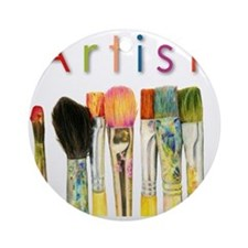 artist-paint-brushes-01 Round Ornament