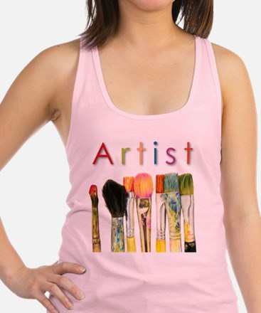 artist-paint-brushes-01 Racerback Tank Top
