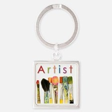 artist-paint-brushes-01 Square Keychain