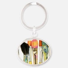 artist-paint-brushes-02 Oval Keychain