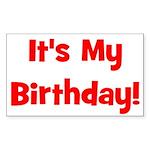 It's My Birthday! Red Rectangle Sticker