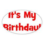 It's My Birthday! Red Oval Sticker