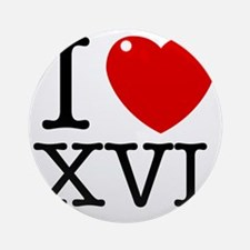 I_Love_XVI_Light Round Ornament