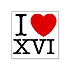 "I_Love_XVI_Light Square Sticker 3"" x 3"""