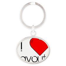I Love Layouts Oval Keychain