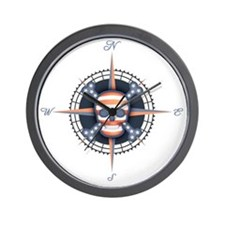 compass-flag-sk-T Wall Clock