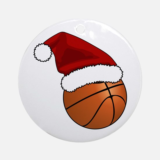 Christmas Basketball Round Ornament