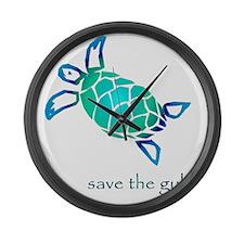 turtle-pap-blue-grad Large Wall Clock
