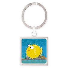 2-puffy_fish_yellow Square Keychain
