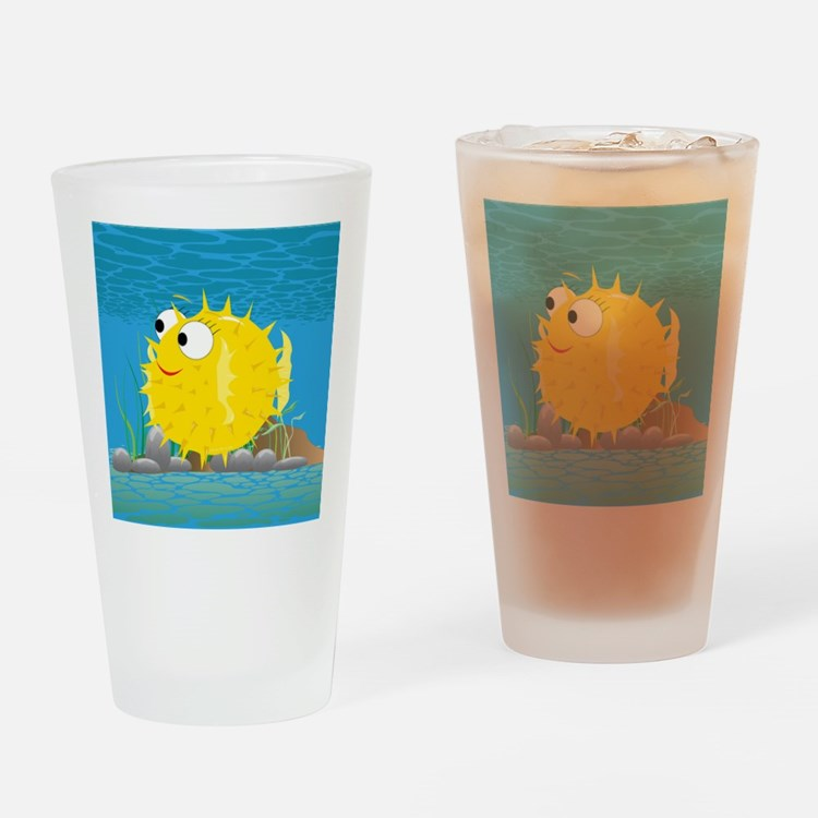 2-puffy_fish_yellow Drinking Glass