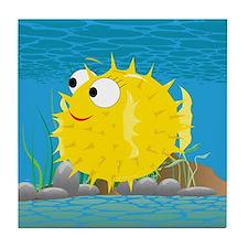2-puffy_fish_yellow Tile Coaster