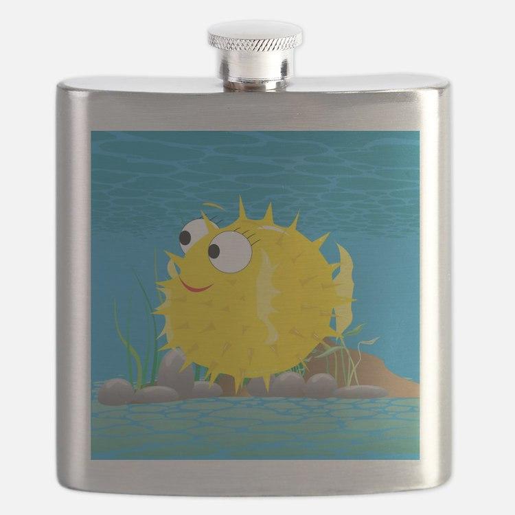 2-puffy_fish_yellow Flask