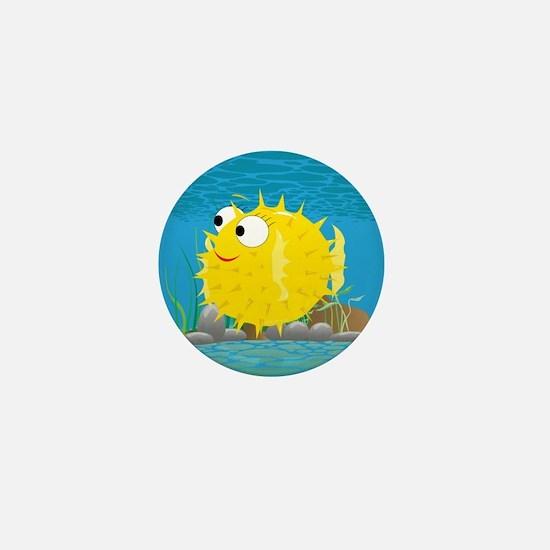2-puffy_fish_yellow Mini Button
