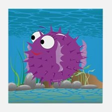 2-puffy_fish_purple Tile Coaster