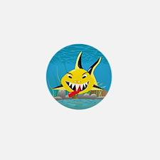 5-spike_shark_yellow Mini Button