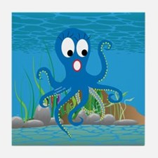 4-octopus_blue Tile Coaster