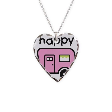 happy camper Necklace Heart Charm