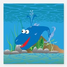 "4-wally_whale_blue Square Car Magnet 3"" x 3"""