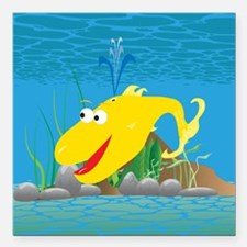 "4-wally_whale_yellow Square Car Magnet 3"" x 3"""