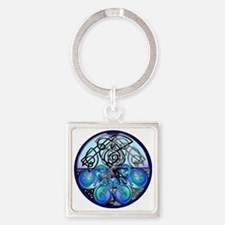 Celtic Dragons in Blue Gray and Bl Square Keychain