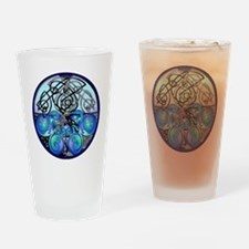 Celtic Dragons in Blue Gray and Bla Drinking Glass
