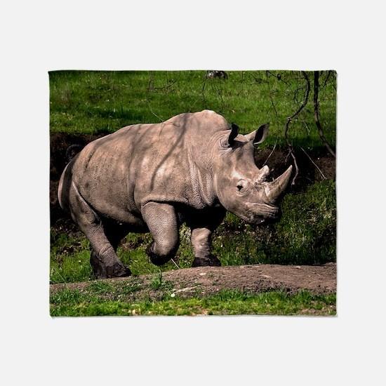 (2) Rhino on Hill Throw Blanket