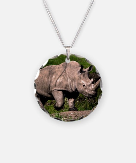 (2) Rhino on Hill Necklace Circle Charm