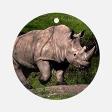 (2) Rhino on Hill Round Ornament