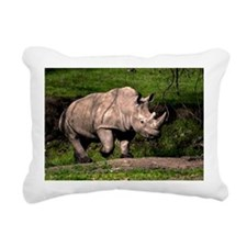 (3) Rhino on Hill Rectangular Canvas Pillow