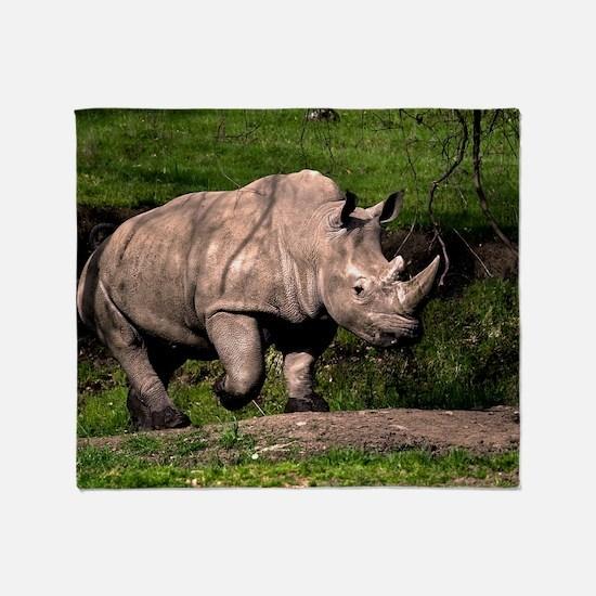 (3) Rhino on Hill Throw Blanket