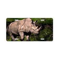 (1) Rhino on Hill Aluminum License Plate