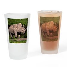 (4) Rhino on Hill Drinking Glass
