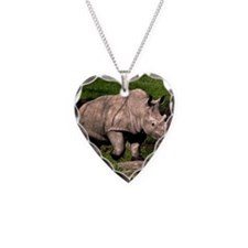 (15) Rhino on Hill Necklace Heart Charm