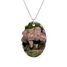 (15) Rhino on Hill Necklace Oval Charm