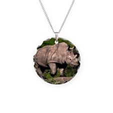 (15) Rhino on Hill Necklace Circle Charm