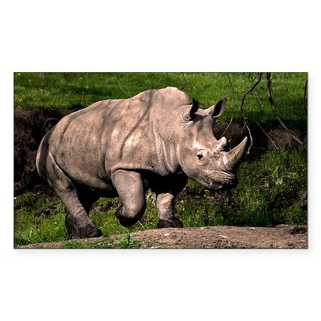 (11) Rhino on Hill Sticker (Rectangle)