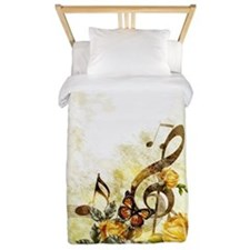 Butterfly Music Notes Twin Duvet Cover