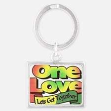 One Love dark ready--color Landscape Keychain